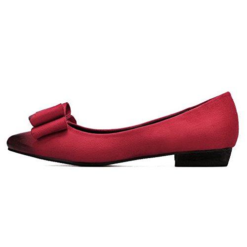 AalarDom Damen Spitz Zehe Nubukleder Ziehen Auf Ohne Absatz Flache Schuhe mit Schleife Rot