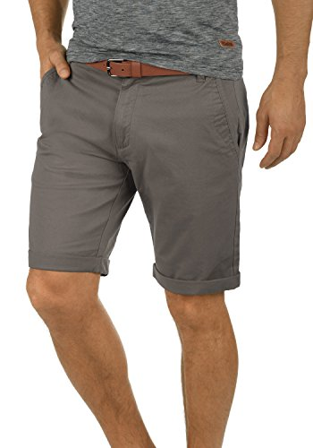 Grau Kariert Shorts (!Solid Montijo Chino Shorts Bermuda Kurze Hose Mit Gürtel Aus Stretch-Material Regular Fit, Größe:XL, Farbe:Mid Grey (2842))