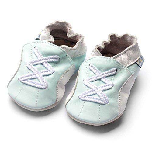 Jinwood designed by amsomo - Jungen - Maedchen - Hausschuhe - ECHT LEDER - Lederpuschen - Krabbelschuhe - soft sole / mini shoes div. Groeßen sport mint soft sole