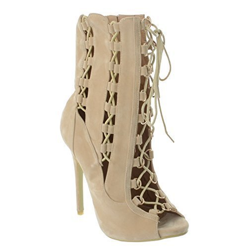 femmes Hauts Talons Stiletto Ghillie LACET BOUT OUVERT fête Bottine cheville chaussures pointure Couleur Chair Daim Synthétique