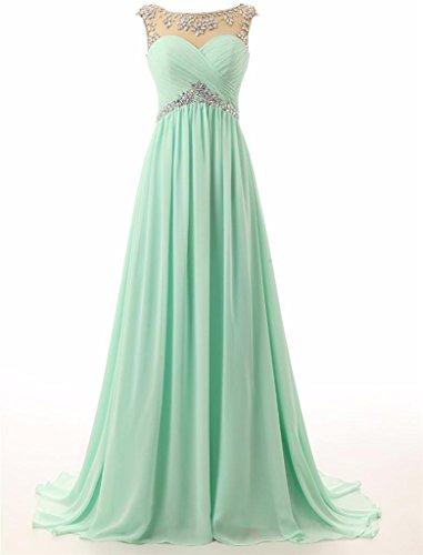 Changjie Damen A-Linie Empire Perlen Brautjungfernkleid Lang Chiffon Abiballkleid Abendkleider