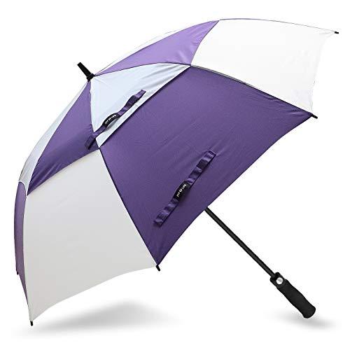 ZOMAKE Automatisches Öffnen Golf Regenschirm 172,7 cm Oversize Extra Groß Double Canopy belüftet Winddicht wasserdicht Stick Schirme(Violett/Weiß)