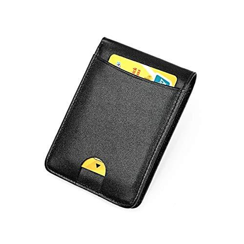 XLDN-Paket Herren Geldbörse Top Layer Leder Dollar Clip Fashion RFID-Karte Tasche Leder Trend Front Line ist die Wahl for Urlaubsreisen (Color : Black, Size : S) -