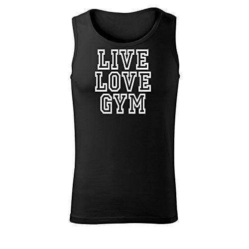Herren Muskelshirt live love gym bedruckt Rundhals ärmelloses T-Shirt Tank Top mit Motiv - Neu S - XXL (377-Core-Schwarz-XXL) (Led Zeppelin-druck-tank-top)