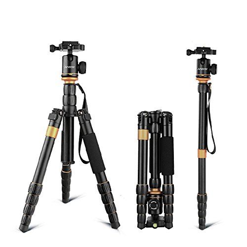 Treppiede Reflex Andoer Cavalletto Foto Treppiede/treppiede per video /Pieghevole E Regolabile Treppiede in lega di alluminio per Canon Nikon Sony DSLR Camera con Testa a Sfera