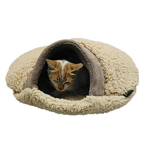 soundwinds Haustierbett Cat Nest Bett Weiche Katze Schlafsack Hamburger Muster Höhle Haus Bett Ultra-Dicke Warme Atmungsaktiv Haustier Kissen Schlafsofa Für Katze und Andere Kleintiere