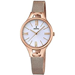 Festina MADEMOISELLE Women's Quartz Watch with Silver Dial Analogue Display and Rose Gold Stainless Steel Rose Gold Plated Bracelet F16952/1