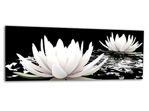 KD Dsign+ XXL Glasbild AG312500525 MURAL WASSERLILIE BLÜTE 125 x 50 cm/WANDBILD Deco Glass/Handmade - Art-glas-panel