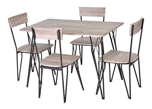 Enrico coveri contemporary set tavolo con 4 sedie in legno e metallo, moderno ed elegante, ideale per cucina, salone e sala da pranzo (rovere)