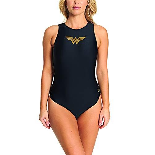Zoggs Damen Wonder Woman Hi Front Badeanzug, Schwarz, 38-Inch/Size 14