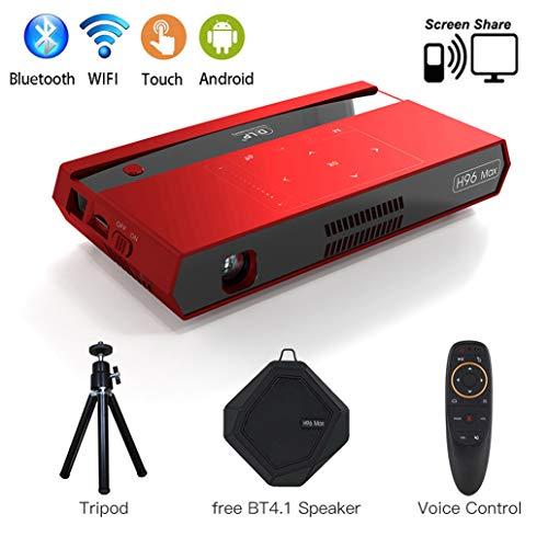 Mini Beamer DLP Projektor Unterstützt Full HD 1080P ,Tragbarer Pocket Projector LED 150 ANSI Lumens ,mit 4100mAH Wiederaufladbar Heimkino Projektor Unterstützung HDMI Eingang / WiFi / Bluetooth / USB -