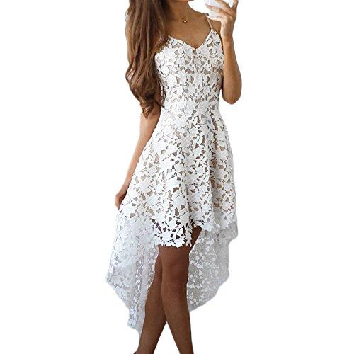 Frauen Mode V-Ausschnitt ärmellos Sling Asymmetrisch Vorne Kurz hinten Lang Spitze Lang Kleider Trägerkleid Beachwear Strandkleider Spitzenkleider Partykleid Weiß
