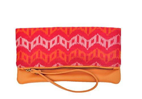 AT IKAT Indian aux femmes Rose & Tan Fold Clutch Sac à main cum iPadhülse manche Soir Fête sac