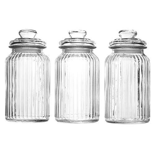 Maison & White Set di 3 barattoli di vetro vintage | Contenitori tradizionale | Ideale per tè, caffè, dolci e altro ancora (1300ml)