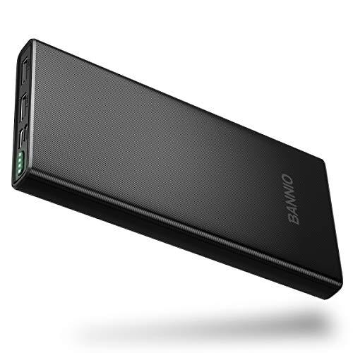 BANNIO 10000mAh Externer Akku,Kompakte Powerbank,USB C & Micro 2 Eingänge und 2 Ausgänge USB Port Power Bank Tragbares Ladegerät mit LED-Anzeige für iPhone,Samsung,Huawei,Tablet und viele mehr,Schwarz