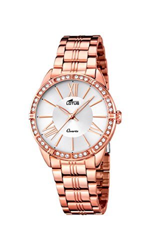 Lotus Women's Quartz Watch with Silver Dial Analogue Display and Stainless Steel Rose Gold Plated Bracelet 18132/1