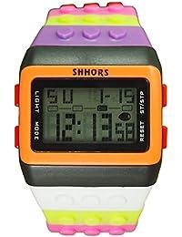 Reloj de pulsera de multifuncion de color - SHHORS Reloj de pulsera de nino LED impermeable de multifuncion de arco iris Reloj de deportes de natacion Reloj de pulsera digital (Estilo 5)