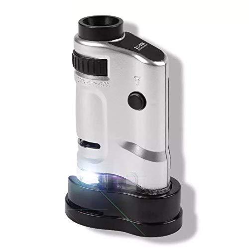 GRHGJ 20-40X Portable Handlupe ABS-Material mit LED-Lichtquelle Mikroskop Identifikation Seal Collection Porzellan-Münze Edelstein Jade