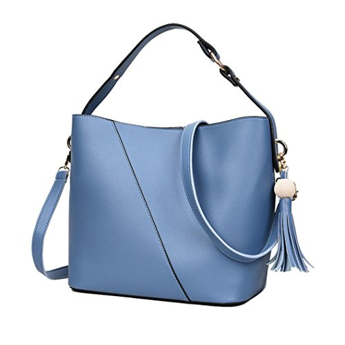 Longra Fashion Women PU Leather Simple Tassel Buckets Sacchetti di spalla a mano singola Blu