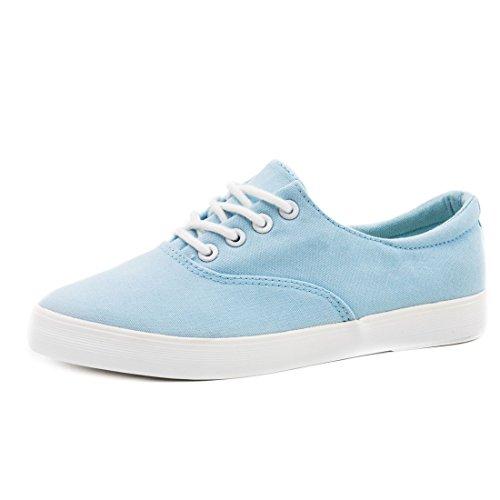 Trendige Low Top Damen Schnür Sneaker Schuhe in Textil Modell 2: Blau