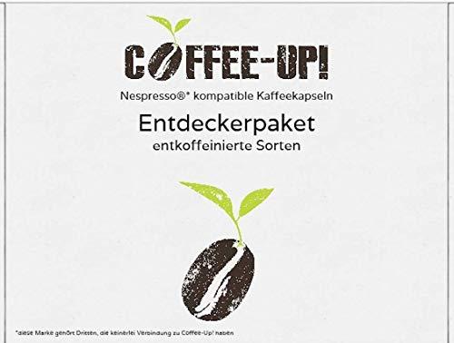 Coffee-Up-Entdeckerpaket: 4 verschiedene entkoffeinierte Sorten - kompostierbare & aluminiumfreie Bio-Kaffeekapseln, Nespresso® kompatibel