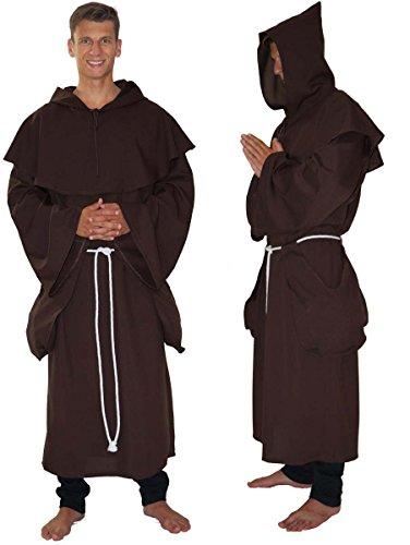 Hohe Kostüm Priester - MAYLYNN 14109 - Kostüm Mönch Herren Mönchskutte Mittelalter 3-teilig braun, Größe:XL