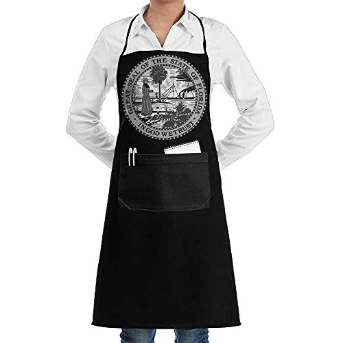 July flower Florida Aprons Kitchen Chef Bib Aprons Gift Apron Professional for Grill,BBQ,Baking,Cooking for Men Women,with Front Pockets,Black