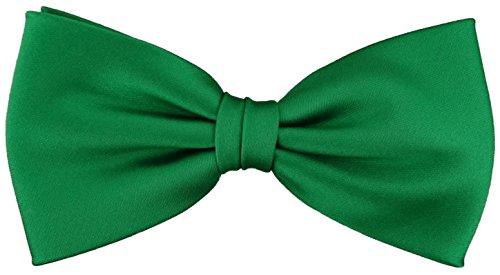 TigerTie vorgebundene Satin Fliege in grün leuchtgrün Uni einfarbig + Geschenkbox -