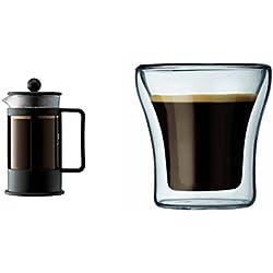 Bodum 1783-01 Kenya Cafetière à Piston 3 Tasses 0.35 L Noire + Set de 2 verres Double Paroi Assam 9 cl