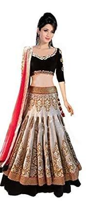 Clickedia Women's Net Lehenga Choli(6004 white & Red lehenga_Red & Yellow_Free Size)