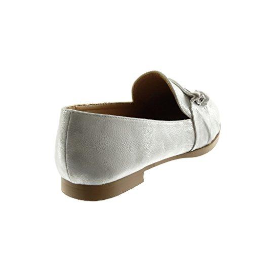 Angkorly Chaussure Mode Mocassin slip-on femme bijoux brillant Talon bloc 1.5 CM Argent