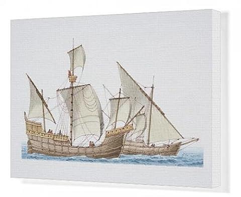 Canvas Print of The 1492 ship Santa Maria and her sister ship Nina, side view