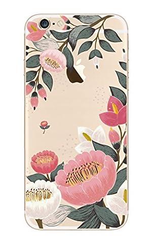 iPhone 5, iPhone 5S, iPhone SE NOVAGO® Coque gel souple incassable et solide avec impression motif fleuri de qualité (Grosse Fleur)