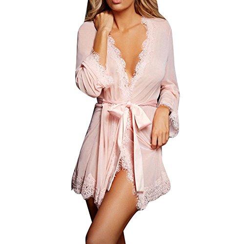 Rosa Mantel Stil Pyjama (Frauen Dessous, Sunday Reizvolles Babydoll Nachtwäsche Unterwäsche Spitzenmantel Nachtwäsche + G-String Frauen Mantel + UnterHosen (Rosa, L))