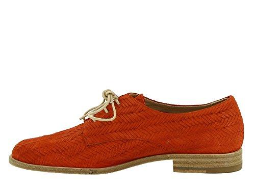 Chaussures à lacets femme en peau retournée orange - Code modèle: MARLENE 1CAV5 852701 Orange moyen
