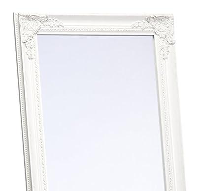 Standspiegel Weiß 170 x 45 cm Landhaus Barock Spiegel Shabby mit Facettenschliff Wand