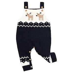 Odziezet Navidad Peleles Mono de Punto Bebé Pantalones con Peto Rojo Azul Invierno Recién Nacido 0-1años 13