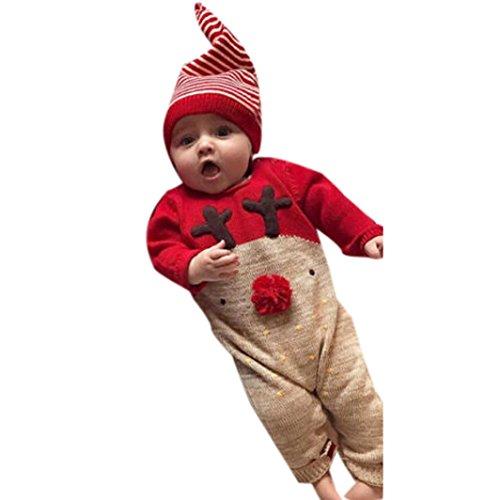 HKFV Baby Weihnachten Hirsch Welle Punkt Druck Langarm-Jersey Stück Anzug + Hut Anzug zweiteilige Anzug Stück Kleidung Hirsch Weihnachten Jungen Mädchen Kleidung Jumpsuit + Hut Set Outfits (80, Rot)