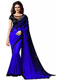 AnK Offer Special Women's Blue Embroidered Georgette Saree With Blouse Piece