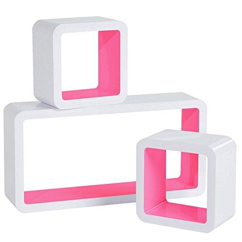 WOLTU RG9229rs Wandregal Cube Regal 3er Set Bücherregal Regalsysteme, Retro Hängeregal Würfel, weiß-rosa