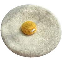 zZZ Sombrero del Huevo escalfado, de Lana Hechos a Mano el Sombrero de Fieltro, yema de Huevo Lindo de la Boina, el Sombrero Ajustable Circunferencia (54-57cm) Regalo del Sombrero Comodidad.