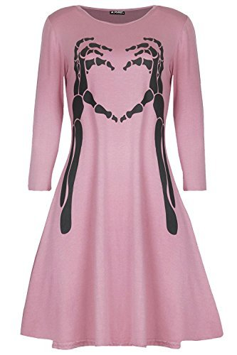 lloween Kostüm Skelett Knochen Herz Kittel Swing Minikleid - rosa, Plus Size (UK 16/18) (Herz-dame Plus Size Halloween-kostüm)
