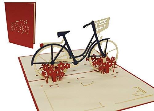 LIN-POP UP 3D Grußkarten Fahrrad, Glückwunschskarten Gutscheinskarten Geburtstagskarten Venlo Damenfahrrad