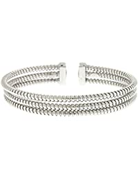 Sterling Silver Cuff 3-rows White Bracelet Tube High Polish