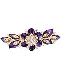 Yazilind Elegante joyas de estilo floral con encanto chapado en oro nupcial accesorio de pelo Shinning Rhinestone barrette de pelo de cristal para las mujeres clips Horquillas de pelo