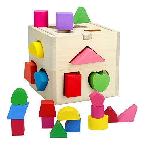 Queta Jeu de Cube de tir de Forme Géométriques en Bois - Jouet Intellectuel Éducatif pour Enfant Bébé -Jeu Boîte de 13 Trous avec des Cubes Colorés