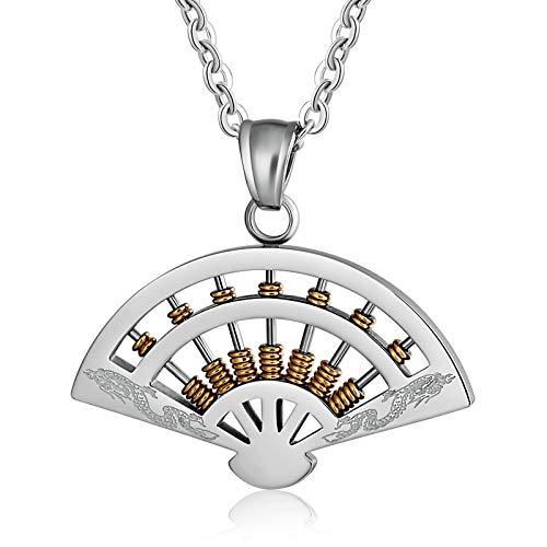 Blisfille Partnerketten Gold Ketten Herren Gold Halskette Unisex Sector Shaped Abacus Anhänger Halskettes Titanstahl Kette Vintage (Indische Abacus)
