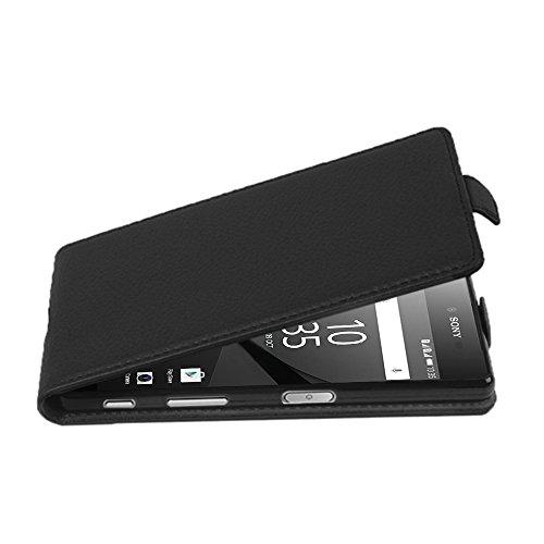 Cadorabo Hülle für Sony Xperia Z5 COMPACT - Hülle in Oxid SCHWARZ – Handyhülle aus Strukturiertem Kunstleder im Flip Design - Case Cover Schutzhülle Etui Tasche