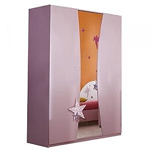 Kleiderschrank Sternchen 2 lila weiß 3 Türen Schrank Drehtürenschrank Kinderzimmer Jugendzimmer Mädchenschrank…