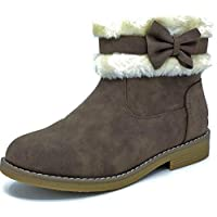Carcassi Kids Childrens Girls Brown White Faux Fur Bow Ankle Boots Size 10-3